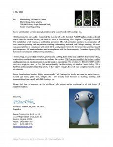 Royce Construction Services Endorses TMI Coatings