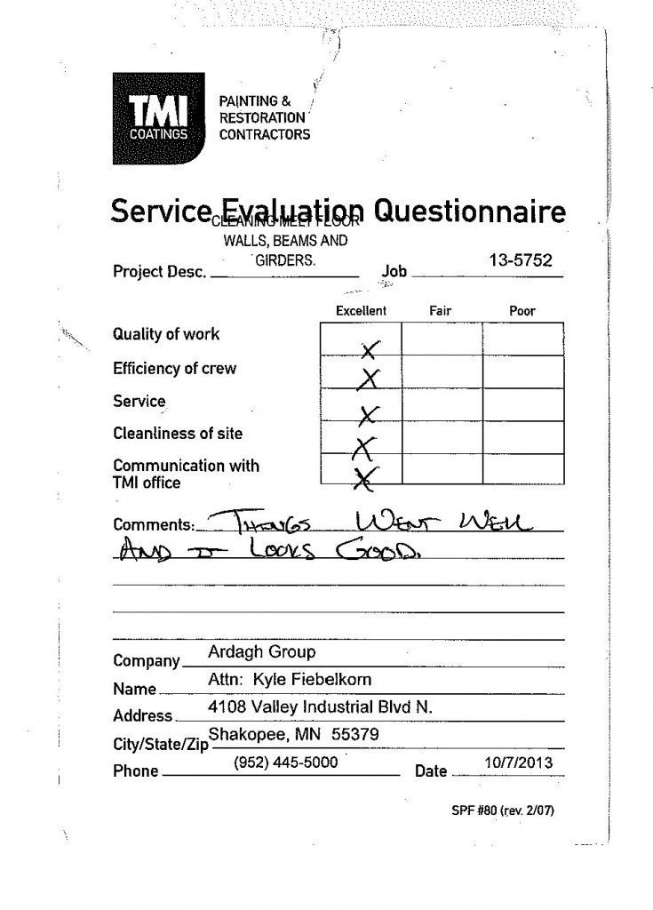 Service Evaluation For TMI Coatings