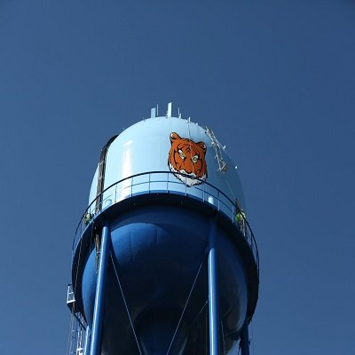 Big Orange Tiger Painted On A Blue Water Tower By TMI Coatings
