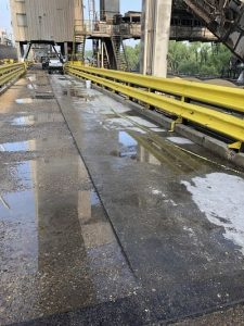 Cargill loading dock before TMI Coatings prepared and applied new coating